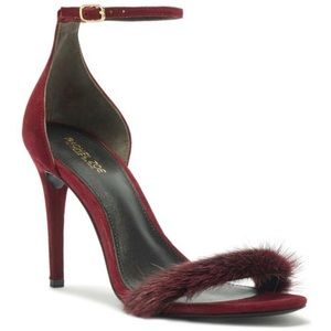 Rachel Zoe Everly Mink-Trim Heeled Sandals 9.5